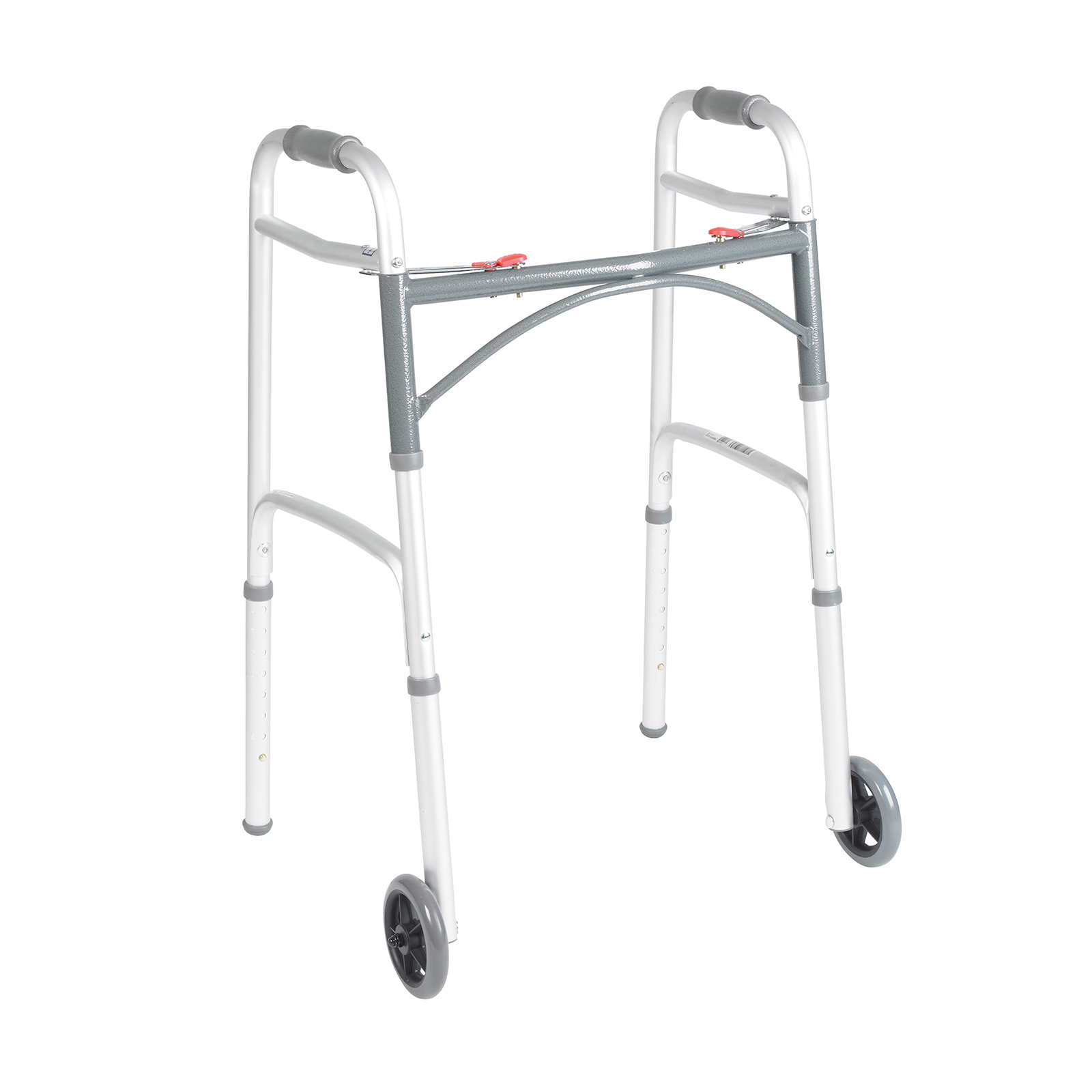 Deluxe Folding Walker, Two Button with 5'' Wheels