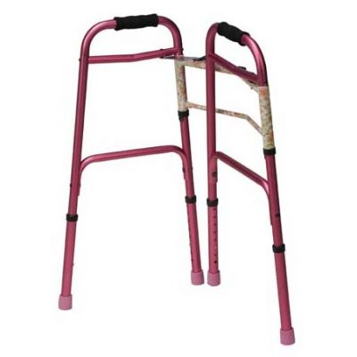 Two-Button Release Aluminum Folding Walker, Pink