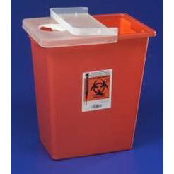 Kendall Sharps Container with Hinged Lid - 8 gallon, Red
