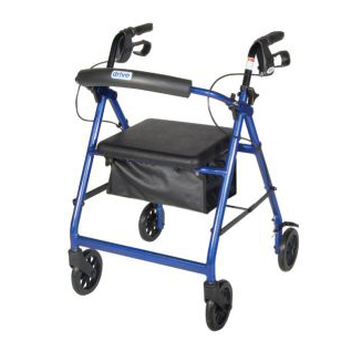 Aluminum Rollator with Fold Up and Removable Back Support, Padded Seat, 6'' Casters with Loop Locks