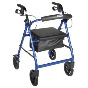 Aluminum Rollator w/Fold Up and Removable Back Support, Padded Seat, 7.5'' Casters w/Loop Locks